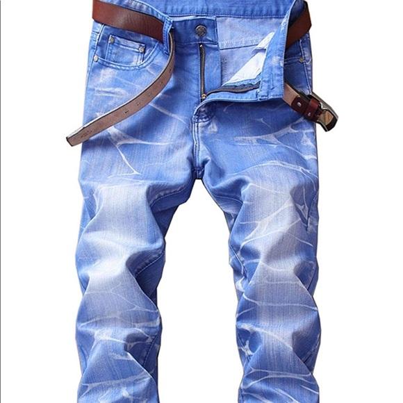 Mens Skinny Slim Fit Stretch Straight Leg Fashion Jeans Pants